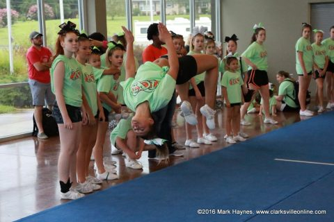 Infinity Cheer Tennessee doing tumbling and gymnastic exhibitions at Clarksville's SportsFest.