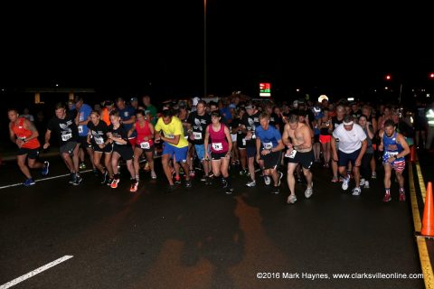 The start of the 3rd Annual Deputy Bubba Johnson Memorial 5K Road Race that was held Saturday night, August 13th.