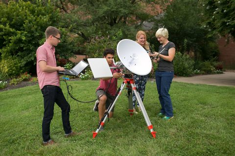 Austin Peay Physics students Mary Sencabaugh, Jacob Robertson, Megan McCracken and Dominic Critchlow prepare the ground system they built to track the high altitude balloon they will release during the 2017 Total Solar Eclipse. (APSU)