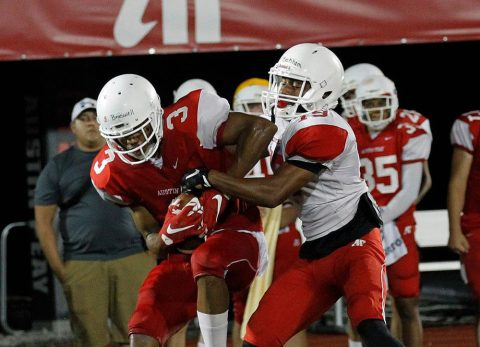 Austin Peay State University football team held a situational scrimmage Saturday night at Fortera Stadium. (Robert Smith | APSU Athletics)