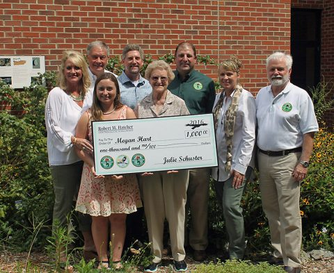 Megan Hart has received the honor of being the first recipient of the Robert M. Memorial Scholarship. To Megan's right is Mr. Hatcher's wife, Betty. Also pictured from left are the Hatchers' daughter, Terri Hatcher Goodwin, TWRA Executive Director Ed Carter, the Hatchers' son, Jerry, TWRA Bird Conservation Coordinator, David Hanni, Tennessee Wildlife Resources Foundation Executive Director, Julie Schuster, and TWRA Biodiversity Division Chief, Bill Reeves. The presentation was made on the campus of Austin Peay State University in Clarksville.