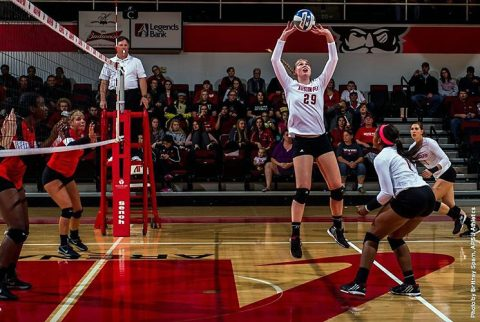 Austin Peay Volleyball defeats Troy in straight sets Saturday morning at DoubleTree Hotel Buccaneer Challenge. (APSU Sports Information)