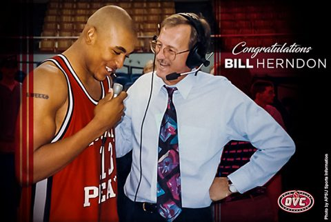 Longtime 'Voice of the Govs' Bill Herndon interviewing Bubba Wells. (APSU Sports Information)