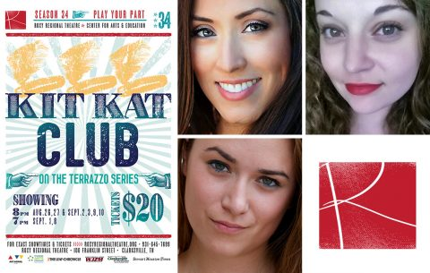 "(Top L to R) Katherine Sandoval Taylor, Reyna Bolton and Emily Rourke star in the Roxy Regional Theatre's ""Kit Kat Club""."