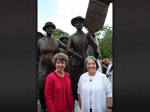 Clarksville Mayor Kim McMillan and Knoxville Mayor Madeline Rogero spoke Friday during a ceremony to unveil the Tennessee Woman Suffrage Monument at Centennial Park in Nashville.