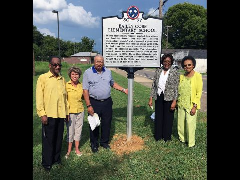 Clarksville Mayor Kim McMillan joined members of the Bailey Cobb Elementary Historical Committee on Saturday for the unveiling of a historical marker at the school site.