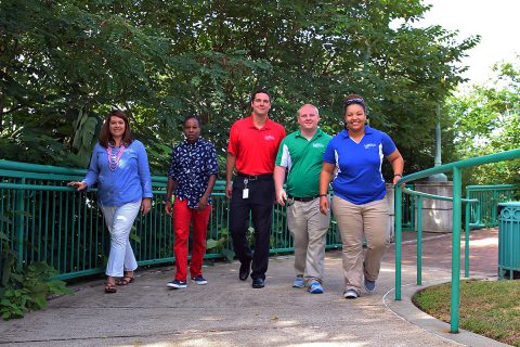 Clarksville Parks and Recreation staff members walk the Upland Trail as part of the department's fitness challenge. The daily walks and other programs helped the department earn commendation as the state's first Healthier Tennessee Workplace.