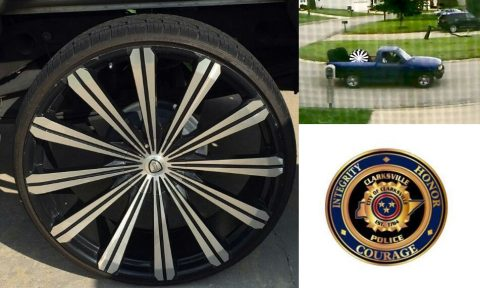 Clarksville Police are looking for the theft suspects that took tires and rims from a residence in Clarksville.