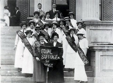 Clarksville Women's Suffrage. Constance Rudolph, in dark suit, front row, right, is the only person identified. (Montgomery County Archives)