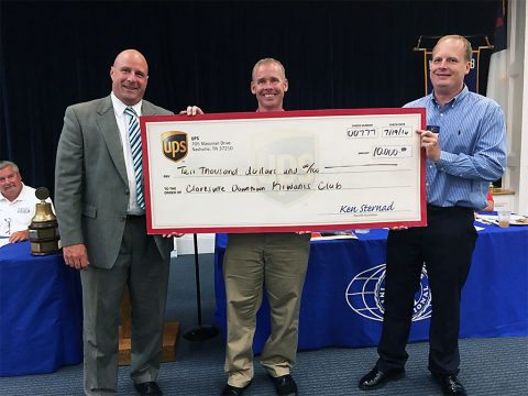 (L to R) UPS Business Manager Jeremy Gossett, Kiwanis Club Board Member and UPS employee Bo Kitchen and Kiwanis Club President Phillip Tucker.