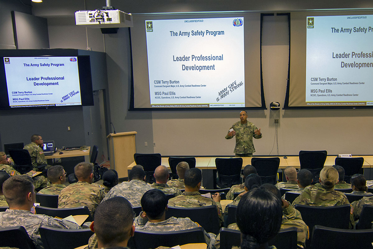 Command Sgt. Maj. Terry D. Burton, senior enlisted adviser for the U.S. Army Combat Readiness Center, discusses the importance of safety during a leader professional development session with noncommissioned officers of the 101st Airborne Division Sustainment Brigade, 101st Abn. Div. (Air Assault), at the Kinnard Mission Training Complex, Fort Campbell, Ky., Aug. 18, 2016. (Staff Sgt. Kimberly Lessmeister/101st Airborne Division Sustainment Brigade Public Affairs)
