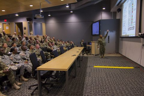 Command Sgt. Maj. Terry D. Burton, senior enlisted adviser for the U.S. Army Combat Readiness Center, shows recent incident statistics involving Soldiers and civilians during a leader professional development session with noncommissioned officers of the 101st Airborne Division Sustainment Brigade, 101st Abn. Div. (Air Assault), at the Kinnard Mission Training Complex, Fort Campbell, Ky., Aug. 18, 2016. (Staff Sgt. Kimberly Lessmeister/101st Airborne Division Sustainment Brigade Public Affairs)