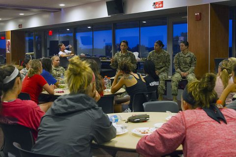 Lt. Col. Gina SanNicolas, commander of the 129th Combat Sustainment Support Battalion, 101st Airborne Division Sustainment Brigade, 101st Abn. Div. (Air Assault), shares the methods she uses to balance social and professional life with the Austin Peay State University women's soccer team at the Fortera Stadium club room, Clarksville, Tn., Aug. 26, 2016. (Sgt. Neysa Canfield/101st Airborne Division Sustainment Brigade Public Affairs)