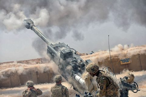 U.S. Soldiers with Battery C, 1st Battalion, 320th Field Artillery Regiment, Task Force Strike, execute a fire mission with an M777 howitzer during an operation to support Iraqi security forces at Kara Soar Base, Iraq, Aug. 7, 2016. Battery C Soldiers support the Combined Joint Task Force – Operation Inherent Resolve mission by providing indirect fire support for Iraqi security forces as they continue to combat Da'esh and re-take lost terrain. (1st Lt. Daniel I Johnson)