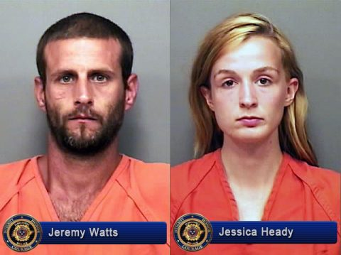 Clarksville Police Jeremy Watts and Jessica Heady for Aggravated Burglary.