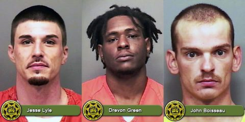 (L to R) Jesse Lyle, Drevon Green, and John Boisseau have warrants on file in Montgomery County.
