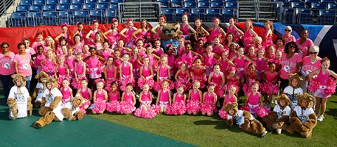 Junior Tennessee Titans Cheerleaders and Junior T-Rac
