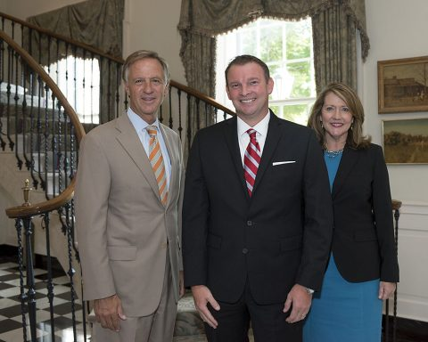 Montgomery County Health Department Director Joey Smith honored with Governor Haslam's Excellence in Service Award. (L to R) Tennessee Governor Bill Haslam, Joey Smith and First Lady Crissy Haslam.