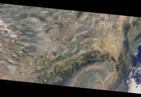 The MISR instrument on NASA's Terra spacecraft captured this image of the destructive Blue Cut wildfire east of Los Angeles midday on Aug. 17. (NASA/GSFC/LaRC/JPL-Caltech, MISR Team)