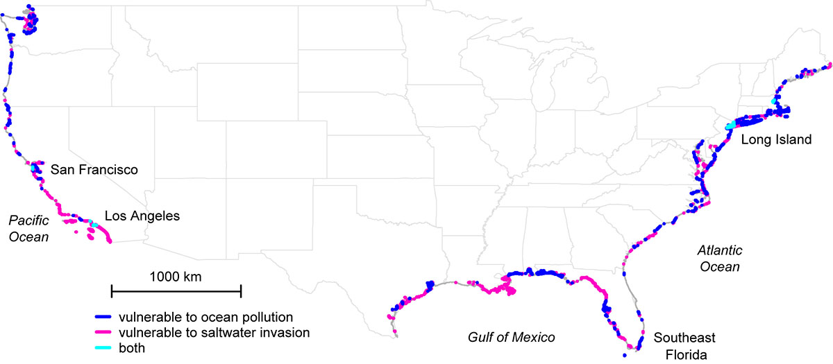 U S Coastal Areas Where Freshwater And Seawater Mix Unseen Below Ground Making Them Vulnerable To