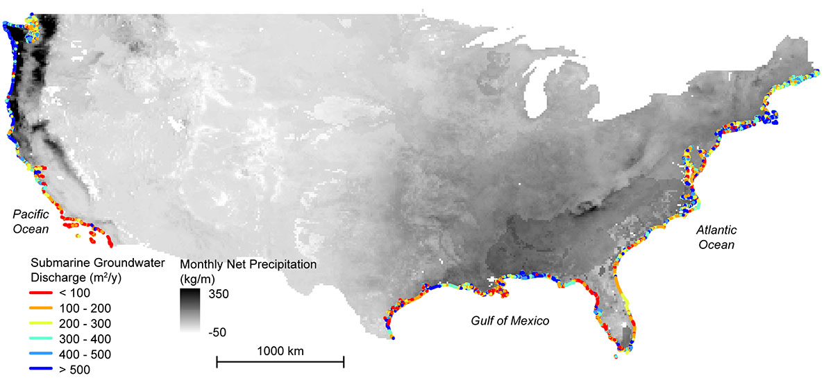 Map Of Hidden Below Ground Land To Sea Water Transfers Along The Coast