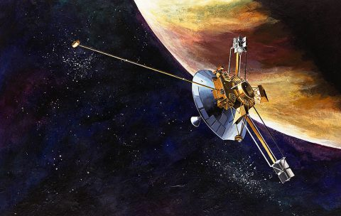 An artist's concept of the Pioneer 10 spacecraft. (NASA)