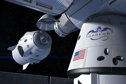 This artist's concept shows a SpaceX Crew Dragon docking with the International Space Station, as it will during a mission for NASA's Commercial Crew Program. NASA is partnering with Boeing and SpaceX to build a new generation of human-rated spacecraft capable of taking astronauts to the station and back to Earth, thereby expanding research opportunities in orbit. (SpaceX)