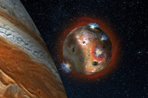 "Artist's concept of the atmospheric collapse of Jupiter's volcanic moon Io, which is eclipsed by Jupiter for two hours of each day (1.7 Earth days). The resulting temperature drop freezes sulfur dioxide gas, causing the atmosphere to ""deflate,"" as seen in the shadowed area on the left. (SwRI/Andrew Blanchard)"