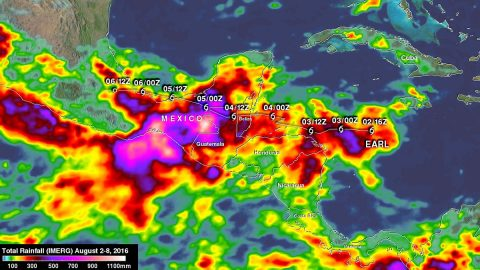 The analysis of rainfall from Aug. 2 through Aug. 8, 2016, showed the period from when Earl became a tropical storm until Earl's remnants interacted with an area of disturbed weather along the Pacific coast. Some areas in extreme southern Mexico received up to 43.3 inches (1,100 mm) of rain. Earl's locations and intensities, as defined by the National Hurricane Center (NHC), are shown overlaid in white. (NASA/JAXA/Hal Pierce)