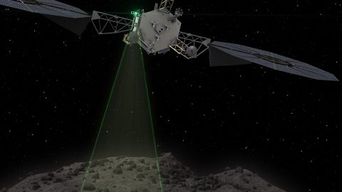 This graphic depicts the Asteroid Redirect Vehicle conducting a flyby of its target asteroid. During these flybys, ARM would come within 0.6 miles (1 kilometer), generating imagery with resolution of up to 0.4 of an inch (1 centimeter) per pixel. (NASA )