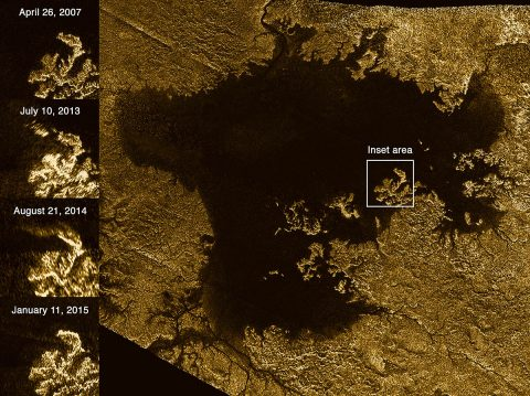 NASA's Cassini spacecraft pinged the surface of Titan with microwaves, finding that some channels are deep, steep-sided canyons filled with liquid hydrocarbons. One such feature is Vid Flumina, the branching network of narrow lines in the upper-left quadrant of the image. (NASA/JPL-Caltech/ASI)