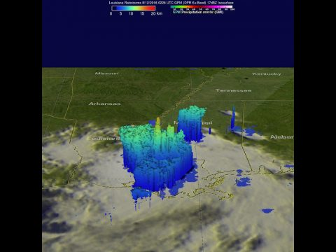 The GPM core satellite found heavy rainfall in storms on Aug. 11, 2016, at 10:26 p.m. EDT falling at a rate of over 3.9 inches (100.1 mm) per hour in one intense downpour in Louisiana. A few storm tops were reaching heights of over 9.9 miles (16 km). (NASA/JAXA/Hal Pierce)