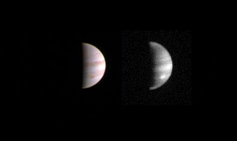 This dual view of Jupiter was taken on August 23, when NASA's Juno spacecraft was 2.8 million miles (4.4 million kilometers) from the gas giant planet on the inbound leg of its initial 53.5-day capture orbit. (NASA/JPL-Caltech/SwRI/MSSS)