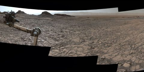 "This 360-degree vista was acquired on Aug. 5, 2016, by the Mastcam on NASA's Curiosity Mars rover as the rover neared features called ""Murray Buttes"" on lower Mount Sharp. The dark, flat-topped mesa seen to the left of the rover's arm is about 50 feet high and, near the top, about 200 feet wide. (NASA/JPL-Caltech/MSSS)"