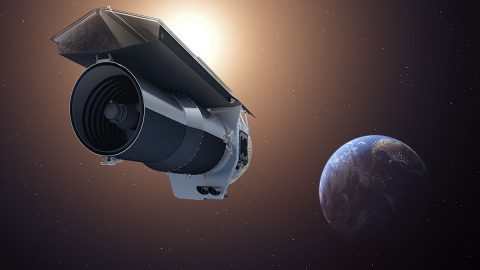"This artist's concept shows NASA's Spitzer Space Telescope. Spitzer begins its ""Beyond"" mission phase on Oct. 1, 2016. The spacecraft is depicted in the orientation it assumes to establish communications with ground stations. (NASA/JPL-Caltech)"