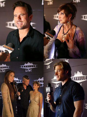 Charles Esten, Pam Tillis, Chris Carmack and Clare Bowen & Brandon on the red carpet.