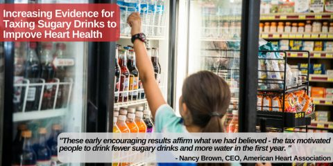 """Increasing Evidence for Taxing Sugary Drinks to Improve Heart Health """"These early encouraging results affirm what we had believed -- the tax motivated people to drink fewer sugary drinks and more water in the first year."""" Nancy Brown, American Heart Association CEO comments on increasing evidence for taxing sugary drinks to improve heart health. (American Heart Association)"""