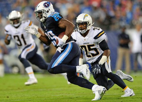 Tennessee Titans running back DeMarco Murray (29) carries the ball away from San Diego Chargers defensive back Darrell Stuckey (25) during the first half at Nissan Stadium. (Joshua Lindsey-USA TODAY Sports)