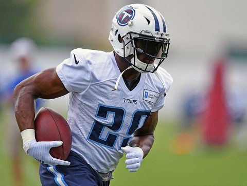 Tennessee Titans running back DeMarco Murray (29) runs the ball during training camp at Saint Thomas Sports Park. (Christopher Hanewinckel-USA TODAY Sports)