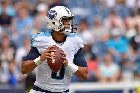 Tennessee Titans quarterback Marcus Mariota (8) looks to pass against the Carolina Panthers during the first half at Nissan Stadium. (Jim Brown-USA TODAY Sports)