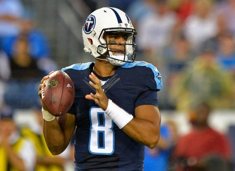 Tennessee Titans quarterback Marcus Mariota (8) looks to pass against the San Diego Chargers during the first half at Nissan Stadium. (Jim Brown-USA TODAY Sports)