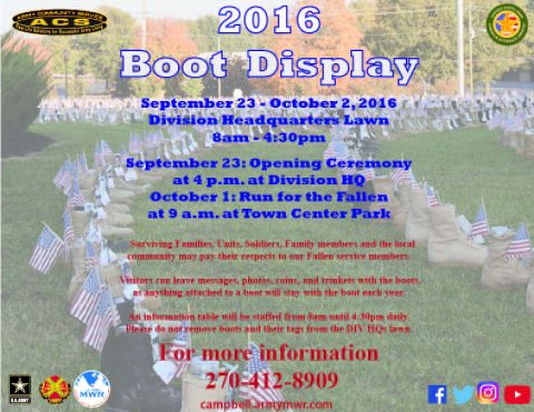 Boots on the Ground Display at Fort Campbell starting September 23rd 2016