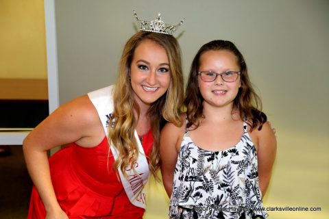 A young lady with Miss Austin Peay State University Hannah Johstono.