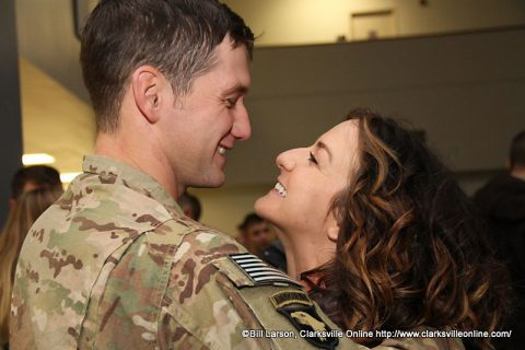 A soldier is welcomed home after deployment to Afghanistan.