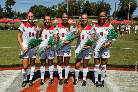 Austin Peay Soccer seniors (L to R) Nicole Wojcik, Brianna Avitabile, Mary Ruth Locastro, Natalie Smith and Gina Fabbro honored at Sunday's game. (APSU Sports Information)