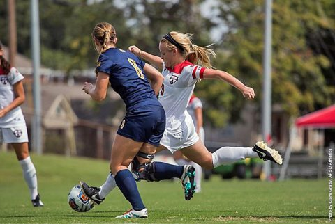 Junior Kirstin Robertson scores two goals to help power Austin Peay Soccer past Chattanooga Sunday. (APSU Sports Information)