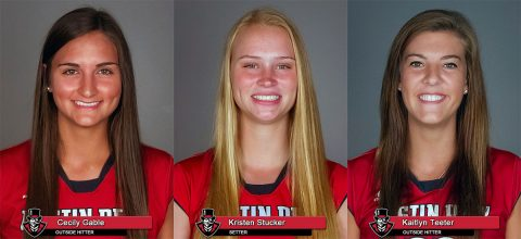 APSU Volleyball - Cecily Gable, Kristen Stucker and Kaitlyn Teeter