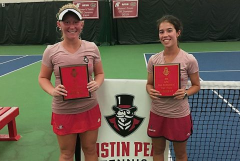 Austin Peay Tennis' Ana Alberston and Lidia Yanes Garcia place second at APSU Fall Invitational. (APSU Sports Information)