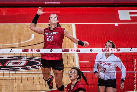 APSU's Kaitlyn Teeter has 19 kills in Volleyball team loss to Saint Louis Billikens. (APSU Sports Information)