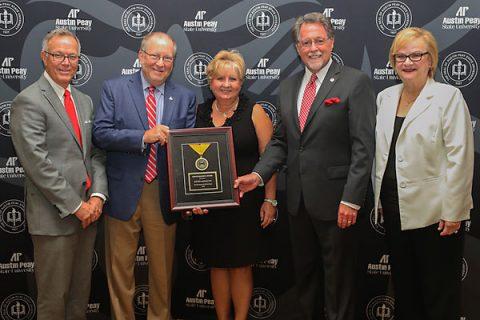 Jeff Bibb and Frank Lott receive TBR's Chancellor Award. (Cassidy Graves, APSU)